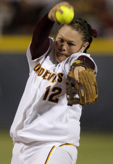 Arizona State's Dallas Escobedo pitches against Alabama during a Women's College World Series game at ASA Hall of Fame Stadium in Oklahoma City, Friday, June 1, 2012.  Photo by Bryan Terry, The Oklahoman