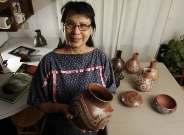 Caddo potter Jereldine Redcorn won second in traditional pottery at this year's Red Earth Festival. Photo by Steve Sisney, The Oklahoman Archives