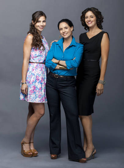 Three-time Golden Globe? and Emmy? nominee Sonia Braga (center) stars as a meddling matriarch alongside Ana Ayora (left) and Mercedes Renard (right) in a Hallmark Movie Channel Original Movie.