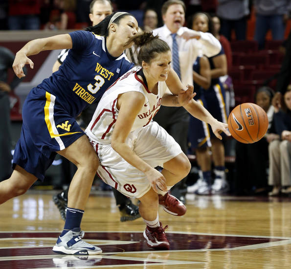 West Virginia Mountaineers' Akilah Bethel (3) fouls Oklahoma Sooner's Morgan Hook (10) during the second half as the University of Oklahoma Sooners (OU) defeat the West Virginia Mountaineers 71-68 in NCAA, women's college basketball at The Lloyd Noble Center on Wednesday, Jan. 2, 2013  in Norman, Okla. Photo by Steve Sisney, The Oklahoman