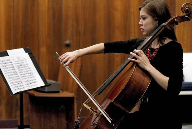 Mika Marie Hood plays the cello during the Hood Family Recital at the University of Central Oklahoma Y Chapel of Song.  Photo by Chris Landsberger, The Oklahoman <strong>CHRIS LANDSBERGER - CHRIS LANDSBERGER</strong>