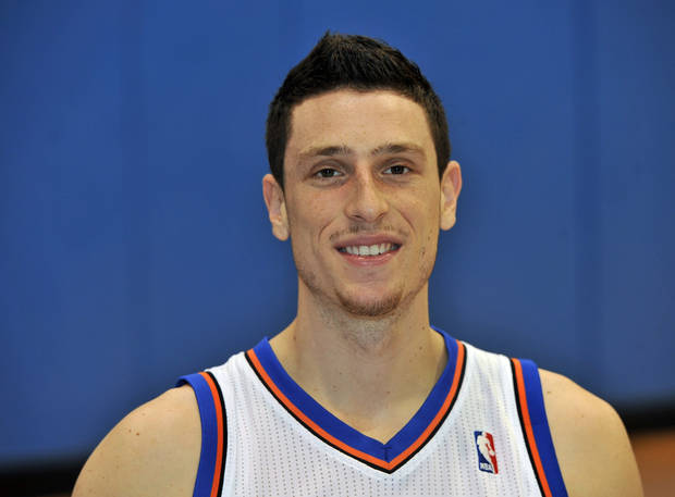 New York Knicks' Andy Rautins at Media Day at the MSG Training Facility Friday, Sept. 24, 2010, in Greenburgh, New York. (AP Photo/Kathy Kmonicek)