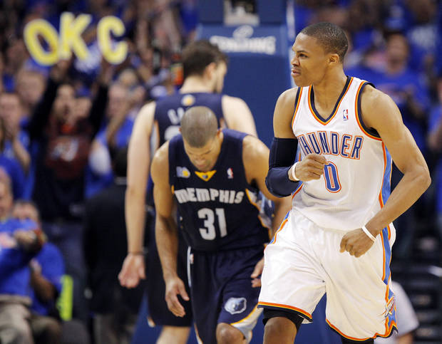 Oklahoma City's Russell Westbrook (0) reacts in front of Shane Battier (31) of Memphis after making a shot in the second half during game 7 of the NBA basketball Western Conference semifinals between the Memphis Grizzlies and the Oklahoma City Thunder at the OKC Arena in Oklahoma City, Sunday, May 15, 2011. The Thunder won, 105-90. Photo by Nate Billings, The Oklahoman
