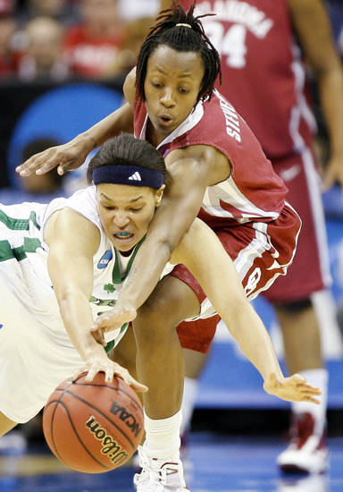 OU's Nyeshia Stevenson goes for the ball over Notre Dame's Ashley Barlow during the Sweet 16 round of the NCAA women's  basketball tournament in Kansas City, Mo., on Sunday, March 28, 2010. 