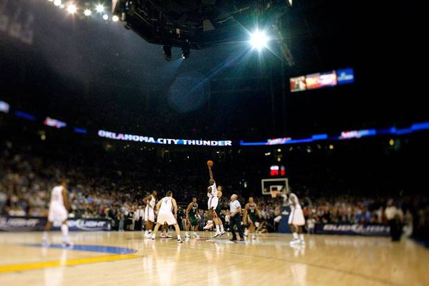 The opening NBA basketball game between the Oklahoma City Thunder and the Milwaukee Bucks tips off at the Ford Center in Oklahoma City, Wednesday, October 29, 2008.  BY BRYAN TERRY, THE OKLAHOMAN