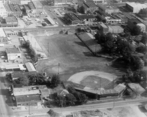 Jelsma Stadium in Guthrie, shown here around 1970. Guthrie's baseball field, Squires Field, shares grass with the football field. PHOTO COURTESY OF THE OKLAHOMA SPORTS HALL OF FAME MUSEUM ...... KOD