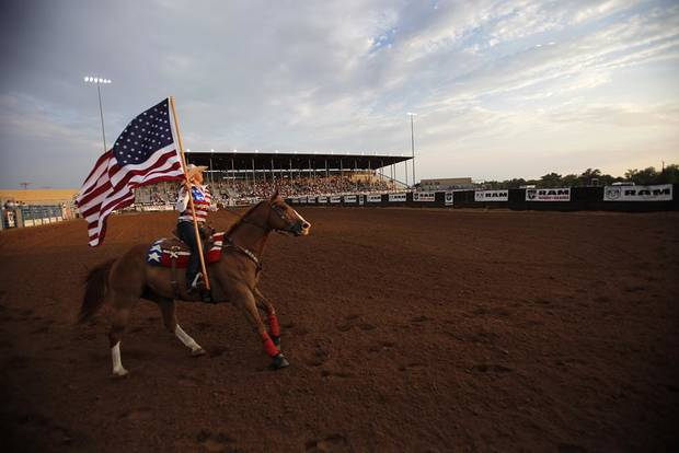 Opening ceremonies during International Finals Youth Rodeo in Shawnee, Okla., Sunday, July 8, 2012.  Photo by Garett Fisbeck, The Oklahoman