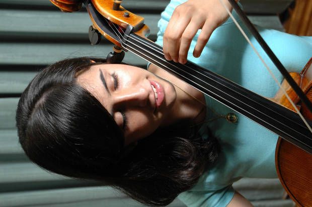 "15 yr. old Diana Ruffin of OKC gets ready for OCU's ""Summer Strings"" show this Friday, June 2nd.<br/><b>Community Photo By:</b> Jerry Heimer<br/><b>Submitted By:</b> Dan,"