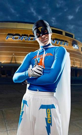 "Thunder super fan ""Thunder Man"" poses for a portrait outside the Ford Center in Oklahoma City, Thursday, Feb. 12, 2009. PHOTO BY BRYAN TERRY, THE OKLAHOMAN"
