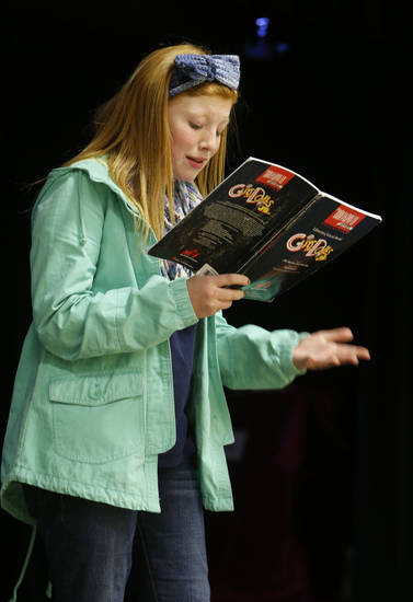 Madi Hardin rehearses her role in Irving Middle School�s upcoming production of �Guys and Dolls Junior.� PHOTO BY STEVE SISNEY, THE OKLAHOMAN