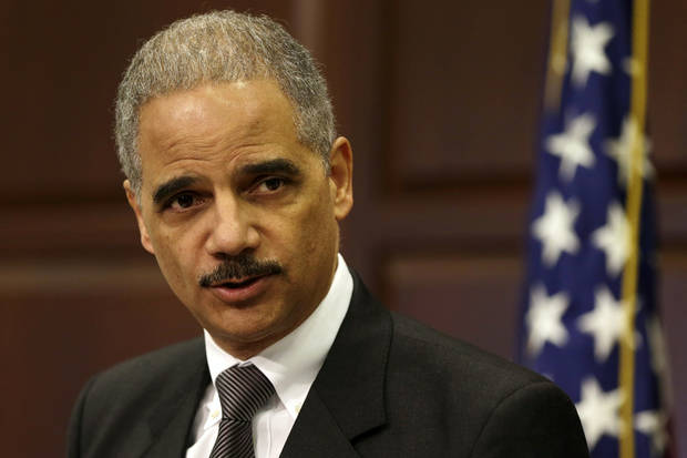 Attorney General Eric Holder speaks about strategy to mitigate the theft of U.S. trade secrets, Wednesday, Feb. 20, 2013, in the Eisenhower Executive Office Building on the White House complex in Washington. The Obama administration is launching a new strategy to fight the growing theft of trade secrets following new evidence linking cyberstealing to China's military.  (AP Photo/Jacquelyn Martin)
