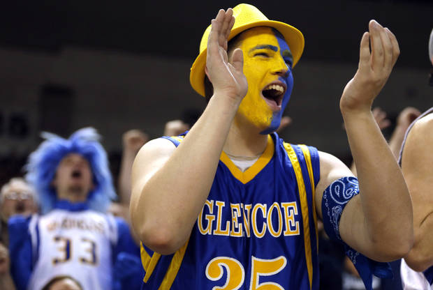Glencoe fan Brent Cook cheers during the Class A boys state championship between Glencoe and Weleetka  at the State Fair Arena.,  Saturday, March 2, 2013. Photo by Sarah Phipps, The Oklahoman