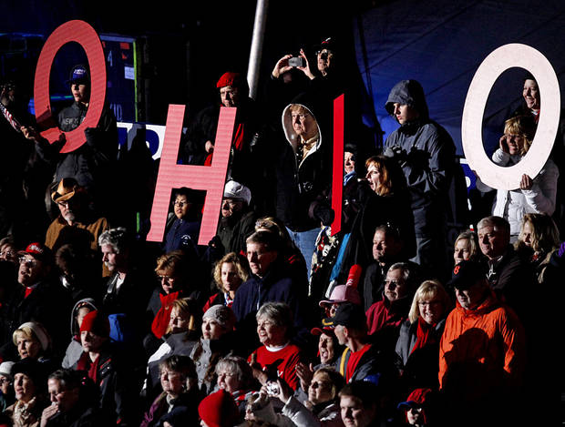 "Supporters spell out ""Ohio"" as they cheer for Republican presidential candidate, former Massachusetts Gov. Mitt Romney, not pictured, as he speaks during a campaign event at The Square at Union Centre, Friday, Nov. 2, 2012, in West Chester, Ohio. (AP Photo/David Goldman)"