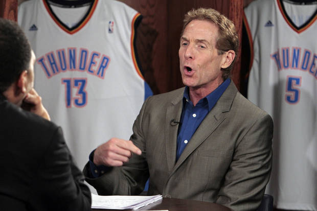 "ESPN ""First Take"" debater Skip Bayless makes a point on the set inside a locker room before game two of the NBA basketball finals at the Chesapeake Energy Arena on Thursday, June 14, 2012 in Oklahoma City, Okla.  Photo by Steve Sisney, The Oklahoman <strong>STEVE SISNEY - THE OKLAHOMAN</strong>"