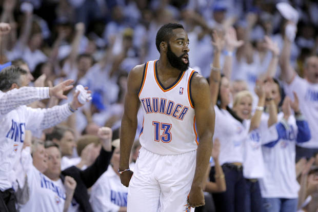 Oklahoma City&#039;s James Harden (13) celebrates a 3-pointer during game five of the Western Conference semifinals between the Memphis Grizzlies and the Oklahoma City Thunder in the NBA basketball playoffs at Oklahoma City Arena in Oklahoma City, Wednesday, May 11, 2011. Photo by Sarah Phipps, The Oklahoman