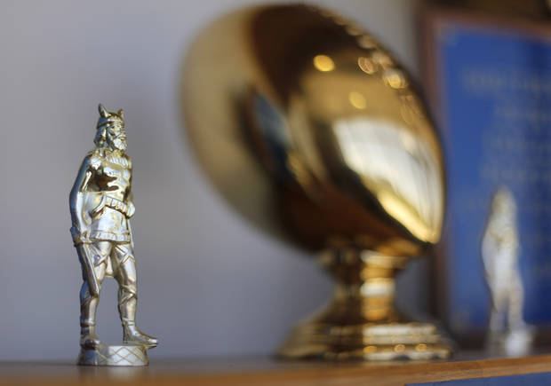 COLLEGE FOOTBALL: Trophies at Northeastern Oklahoma A&M College in Miami, Okla., Wednesday, July 18, 2012.  Photo by Garett Fisbeck, The Oklahoman