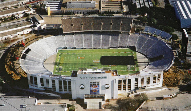 Renovations seen in a provided photo during progress to the Cotton Bowl on display to the media on Wednesday, Sept 17,  2008, in Dallas, Texas.