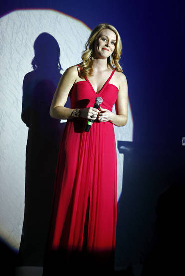 Miss America 2007 Lauren Nelson sings the National Anthem during the Oklahoma Speaker's Ball at the Embassy Suites Hotel on Friday, Feb. 1, 2013 in Norman, Okla.  Photo by Steve Sisney, The Oklahoman