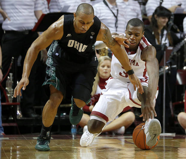 Oklahoma's Buddy Hield (3) and Ohio's Walter Offutt (3) for for the ball during a NCAA college basketball game between the University of Oklahoma (OU) and Ohio at the Lloyd Noble Center in Norman, Saturday, Dec. 29, 2012. Oklahoma won 74-63. Photo by Bryan Terry, The Oklahoman