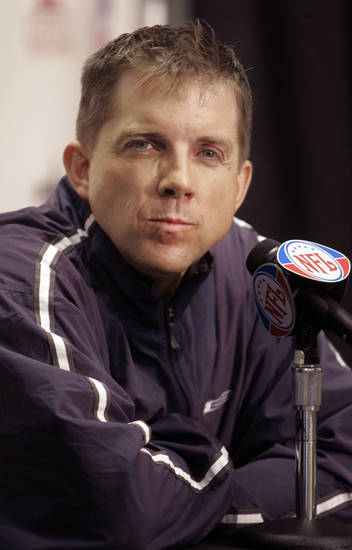 File-This Jan. 15, 2007 file photo shows New Orleans Saints football coach Sean Payton listening to a question at a news conference  in New Orleans.  The suspended New Orleans Saints head coach has agreed in principle to a multiyear contract extension, according to two people familiar with the deal, said Friday Dec. 28, 2012. (AP Photo/Bill Haber, File)
