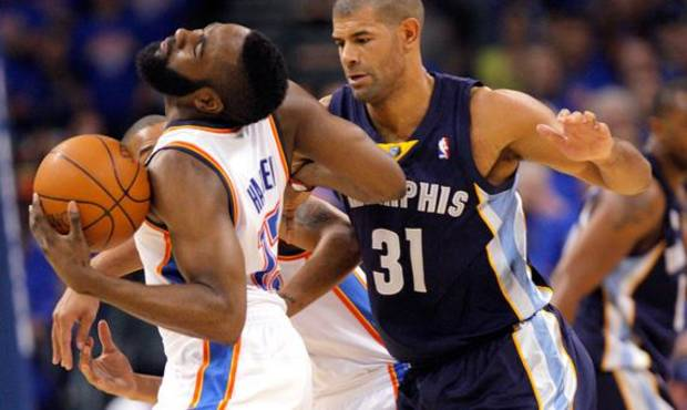 Oklahoma City's James Harden (13) tries to get by Shane Battier (31) of Memphis  during game 7 of the NBA basketball Western Conference semifinals between the Memphis Grizzlies and the Oklahoma City Thunder at the OKC Arena in Oklahoma City, Sunday, May 15, 2011. Photo by Sarah Phipps, The Oklahoman