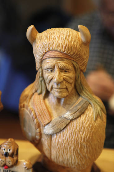 Tim Hataway's finished woodcarving that was shown at the Edmond Senior Center Woodcarving Show. PHOTO BY STEVE GOOCH, THE OKILAHOMAN. <strong>STEVE GOOCH - THE OKLAHOMAN</strong>