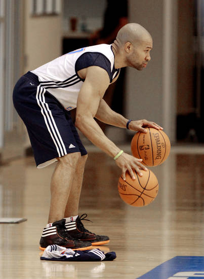 Derek Fisher dribbles during practice at the Oklahoma City Thunder practice facility on Friday, April 27, 2012, in Oklahoma City, Okla.  Photo by Steve Sisney, The Oklahoman