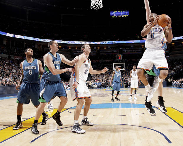 Thunder point guard Russell Westbrook drives to the basket during Oklahoma City's 109-92 win over Minnesota on Friday at the Ford Center.  PHOTO BY BRYAN TERRY, THE OKLAHOMAN