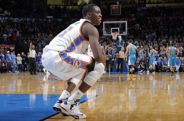 Oklahoma City Thunder's Reggie Jackson (15) reacts in the final seconds of the Thunder win over New Orleans during the NBA basketball game between the Oklahoma CIty Thunder and the New Orleans Hornets at the Chesapeake Energy Arena on Wednesday, Dec. 12, 2012, in Oklahoma City, Okla.   Photo by Chris Landsberger, The Oklahoman