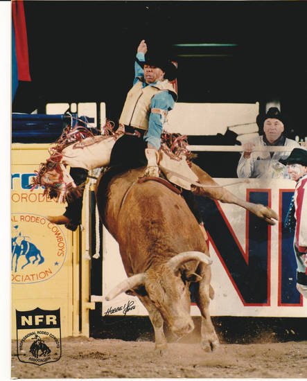Above: Bull rider Danell Tipton, of Spencer, competes at the National Finals Rodeo in Las Vegas. Photo by Dan Hubbell Right: Danell Tipton is now a Spencer police officer. Photo By David McDaniel, The Oklahoman