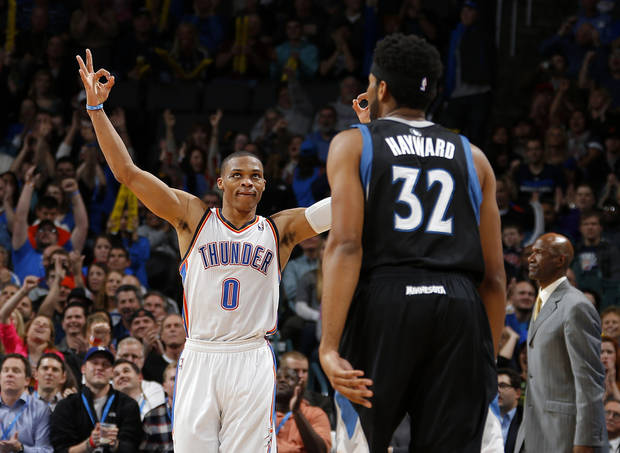 Oklahoma City&#039;s Russell Westbrook (0) reacts after a Thunder basket during an NBA basketball game between the Oklahoma City Thunder and the Minnesota Timberwolves at Chesapeake Energy Arena in Oklahoma City, Wednesday, Jan. 9, 2013.  Oklahoma City won 106-84. Photo by Bryan Terry, The Oklahoman