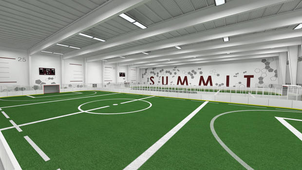 An artist rendering of indoor soccer turf at Summit Sports Complex which will be at I-35 and Covell in Edmond, Okla., with a planned opening of the summer of 2015.