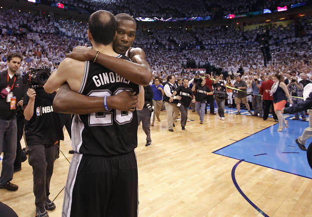 Oklahoma City's Kevin Durant hugs San Antonio's Manu Ginobili after the 107-99 win over the Spurs during Game 6 of the Western Conference Finals between the Oklahoma City Thunder and the San Antonio Spurs in the NBA playoffs at the Chesapeake Energy Arena in Oklahoma City, Wednesday, June 6, 2012. Photo by Chris Landsberger, The Oklahoman