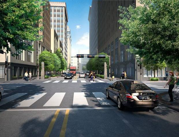 A Project 180 reconstruction of Park Avenue between Robinson and Broadway is shown in an artist�s rendering. Image PROVIDED