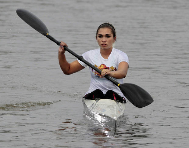 Samantha Lee, 16, SanDiego, Calif. warms up for a Junior Women's K1 race at the 2012 Oklahoma Regatta Festival on Friday, Sept. 28, 2012 in Oklahoma City, Okla.  Photo by Steve Sisney, The Oklahoman