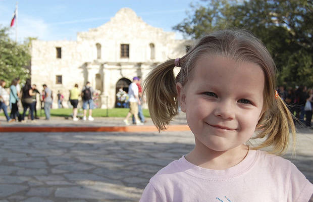 Miranda Price at the Alamo. San Antonio features many activities for a family trip.  Photos by Annette Price, for The Oklahoman