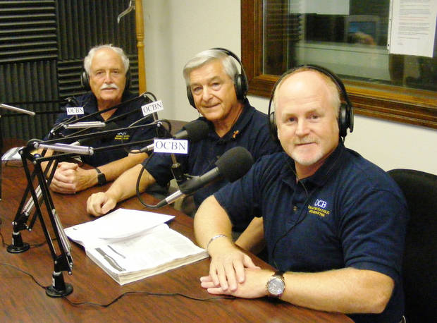 Fred Pope, Larry Sousa and Jeff Finnell, with the Oklahoma Catholic Broadcasting Network, pose for a picture before going on the air for a radio show Sousa hosts each week. Photo provided Mike Miller/Tyler Media <strong></strong>