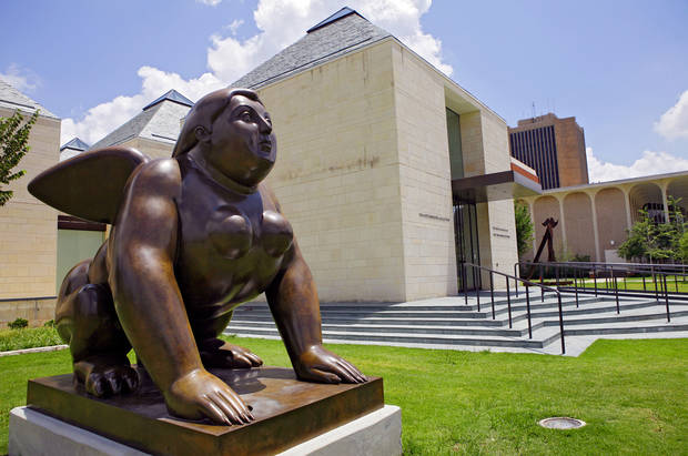 A Fernando Botero sculpture titled Sphinx sits outside the Fred Jones Jr. Museum of Art on Monday, July 14, 2008, in Norman, Okla.  Staff Photo By JOHN CLANTON