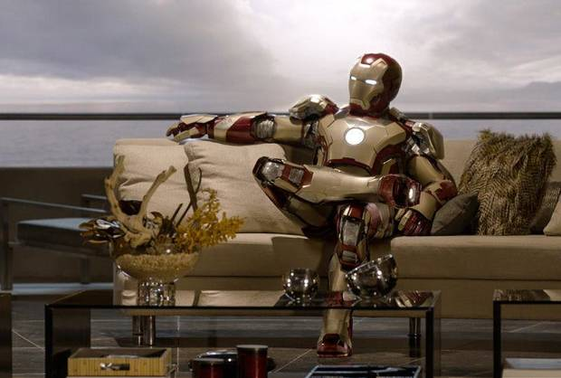 "Iron Man kicks back in ""Iron Man 3.""  Marvel/Disney <strong></strong>"