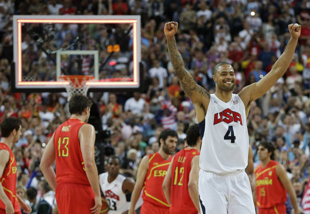 United States' Tyson Chandler celebrates after a men's gold medal basketball game against Spain at the 2012 Summer Olympics, Sunday, Aug. 12, 2012, in London. USA won 107-100. (AP Photo/Eric Gay)
