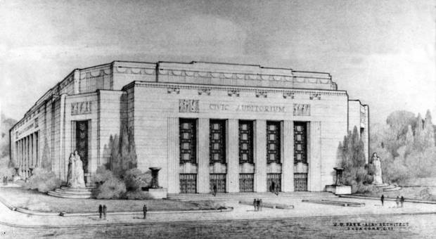 "Official architectural rendering of the ""new"" Oklahoma City Municipal Auditorium / Civic Center Music Hall which ran in the June 13, 1935 Oklahoma City Times.  Drawing done by Oklahoma City architect J.O. Parr."