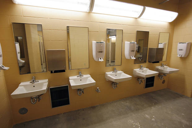 Bathroom improvements and renovations to the Cotton Bowl on display to the media on Wednesday, Sept 17,  2008, in Dallas, Texas.