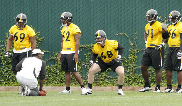 Pittsburgh Steelers free agent defensive end Jake Stoller (68) out of Yale, goes through a drill as defensive line coach John Mitchell, left, watches during NFL football rookie minicamp at the team's training facility in Pittsburgh on Saturday, May 5, 2012. (AP Photo/Keith Srakocic)