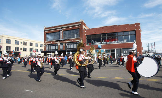 The Langston University marching band performs Monday in the Martin Luther King Jr. Day parade in  Oklahoma City. Photo by Steve Gooch, The Oklahoman