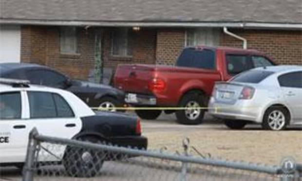 The scene of the shooting is seen in this screen grab from NewsOK.com video.