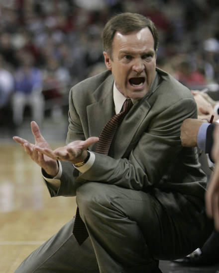 UNLV coach Lon Kruger talks to his bench during UNLV's NIT college basketball game against South Carolina Tuesday, March 22, 2005, in Columbia, S.C.  (AP Photo/Perry Baker)