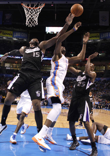 during the NBA basketball game between the Oklahoma City Thunder and the Sacramento Kings at Chesapeake Energy Arena in Oklahoma City, Tuesday, April 24, 2012. Photo by Sarah Phipps, The Oklahoman.