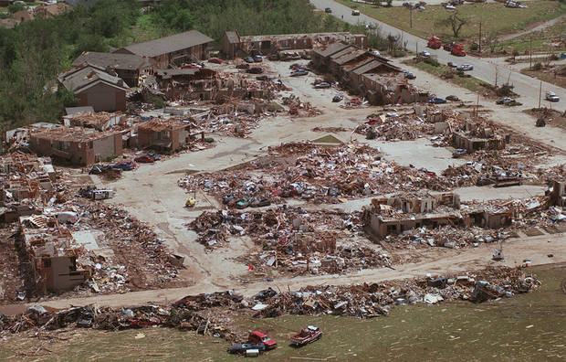 MAY 3, 1999 TORNADO: Tornado damage, aerial view: Emerald Springs apartment complex leveled in NW Moore.