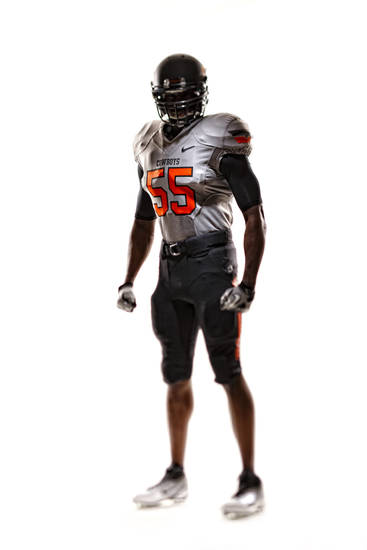 Oklahoma State's new uniforms. Pictured here is the black pants, silver jersey and black helmet. PHOTO PROVIDED