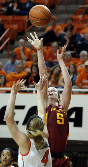 Iowa State's Hallie Christofferson (5) shoots over Oklahoma State's Liz Donohoe (4) during the women's college basketball game between Oklahoma State and Iowa State at  Gallagher-Iba Arena in Stillwater, Okla.,  Sunday,Jan. 20, 2013. Photo by Sarah Phipps, The Oklahoman